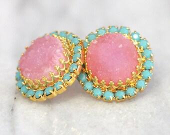 Druzy Earrings,Druzy Stud Earrings,Druzy Jewelry,Swarovski Stud Earrings,Gemstone Earrings,Gift for her,Pink Studs,Pink Turquoise Earrings
