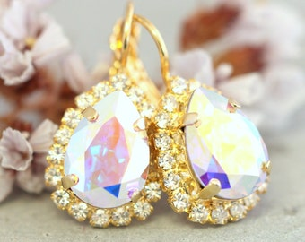Bridal Crystal Drop Earrings,Swarovski AB Drop Earrings,Bridesmaids Crystal AB Earrings,Bridal Earrings,Gold Drop Bridal Earrings