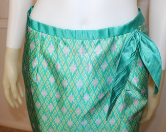 CLEARANCE  Vintage Teal Printed Satin 90's Wrap Skirt  M