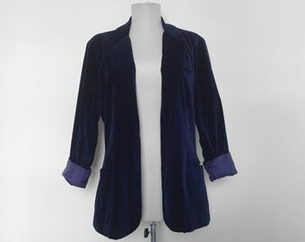 SHOP SALE! Vintage Navy Blue Velveteen Blazer / Velvet / Women's Jacket / Dark Blue / Smoking Jacket / Steampunk / Luxe / Bryson Ms. /