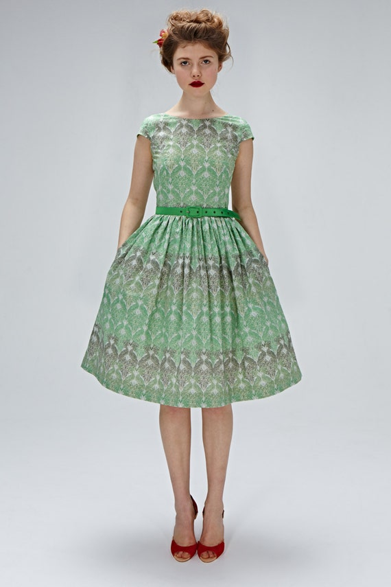 1950s inspired dress tea length dress emerald green by for 1950s wedding guest dresses