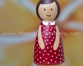 Wooden peg doll girl hand painted - cute girl doll in red dress dolls house childs toy