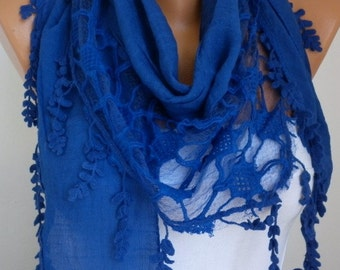 Royal Blue Scarf  Passover  Hanukkah Gift Shawl Cowl Scarf Gift Ideas for Her Women Fashion Accessories