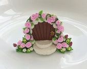Fairy door gate with pink coloured roses handmade from polymer clay