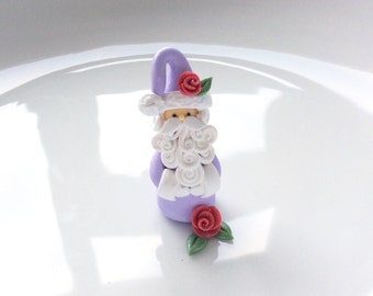 Lilac Santa Claus Christmas miniature ornament handmade from polymer clay