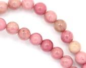 Rhodonite (Banded) Beads - 6mm Round - Full Strand