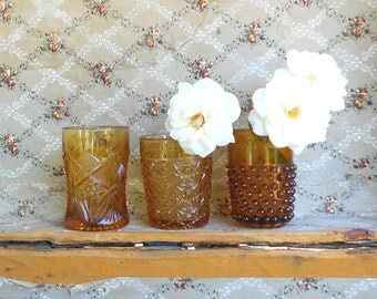 Three Vintage Glass Tumblers Amber Hobnail Daisy Button and Star Patterns Cottage Home Decor Vase Collection Autumn Fall Wedding Table Decor