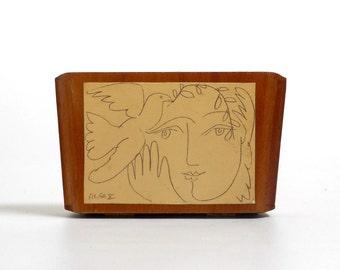 Vintage Cigar Box Purse Jewelry Storage Box A Fuente Short Story Picasso Print Dove of Peace No Handle Boho Hippie Decor