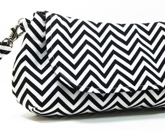 Clutch Purse - Black White Chevron Clutch Purse, Party Clutch, Bridesmaids Clutch