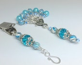 Blue Portuguese Knitting Pin & Stitch Markers with Holder- Gift for Portuguese Knitters- Clip On Pin- Beaded Markers, Coworker Gift