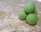 BIG Green Color Natural Merino Wool Felted Balls for Cats