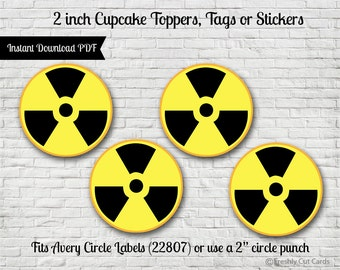 """Radioactive Symbol 2"""" Printable Treat Toppers or Labels"""