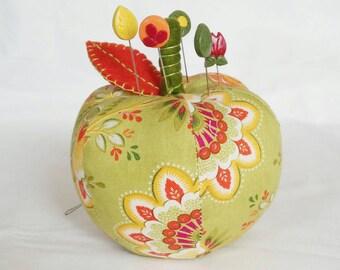 Pincushion Apple fabric handmade 5 matching pins