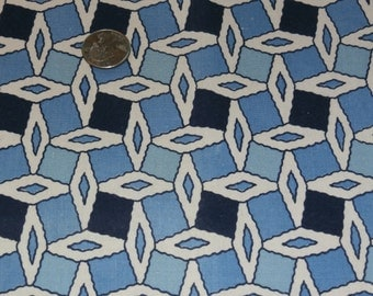 "Vintage Cotton Feedsack White and Blue Diamond Geometric Design Quilting 35 3/4"" x 45"""