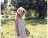 SALE Linen girl dress - Rustic flower girl dress - Country flower girl dress - Rustic girl dress - Linen girl outfit - Gray girl dress