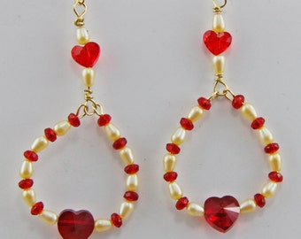 Handmade Pearl and Red Glass Heart Earrings Valentines Day Gift  Gold Filled Hooks