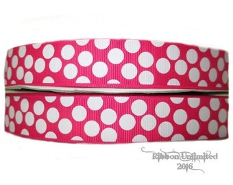 10 Yds WHOLESALE 7/8 Inch SHoCKiNG PiNK-White Sugar Dots grosgrain ribbon LOW SHIPPING Cost