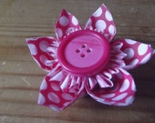 Pink Polkadots - Fabric Origami Hair Accessory