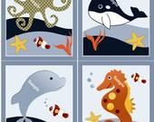 Set of 4 (Ocean Blue Whale/Ocean life/Octopus/Seahorse/Dolphin) Wood Plaques Nursery Decor Wall Art So Cute