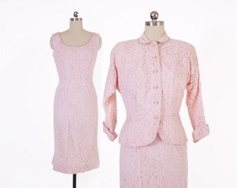 Vintage 50s PINK SUIT / 1950s Rhinestone & Pearl Trimmed Pink Lace Wiggle Dress and Tailored Blazer Jacket Set xs - s
