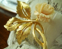 Carved celluloid rose brooch brushed gold finish ivory colored rose Free Shipping