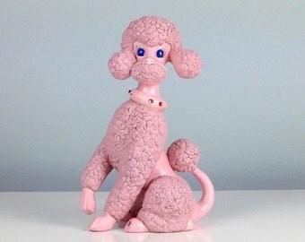 Large Pink Poodle Figurine, 1960s Poodle, Ceramic Poodle Dog, Dog Lover Gift, Pink Bathroom Decor, Pink Home Decor, Dog Collector