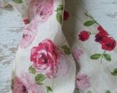 Fabric strip - shabby chic fabric - french fabric - Paris bebe - aqua fabric - rose cameo - sewing projec