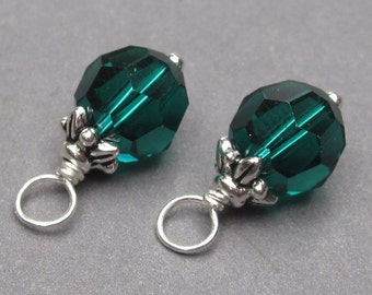 Swarovski Crystal Emerald Green Birthstone Charms, May Birthstone, Interchangeable Earrings Pendants Jewelry, 8mm Swarovski Bead Crystals