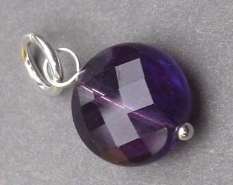 Amethyst Birthstone Charm, Amethyst Interchangeable Pendant, February Birthstone Charm, Amethyst Bracelet Charm, Amethyst Jewelry, Stones 16