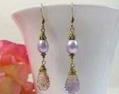 Ametrine Leaf and Pearl Earrings, Carved Ametrine Gemstone Leaves with Freshwater Pearls and 925 Gold Vermeil