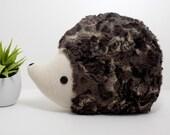 Hedgehog pillow plush in dark multi tones, hedgehog stuffed animal toy, woodland nursery decor hedgehog