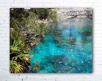 mermaid lagoon - tropical decor - tropical print - turquoise blue sea water - mexico photography