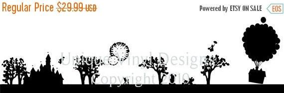 ON SALE Disney silhouettte skyline features mickey mouse, bambi, pluto, cinderella castle Vinyl Lettering