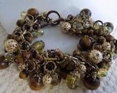 Vintage bracelet,wood, filigree, and AB and yellow glass beads retro bracelet, 8 inch bracelet, jewelry