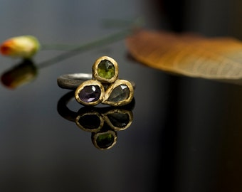 Three stone ring ,Statment ring ,Gold ring