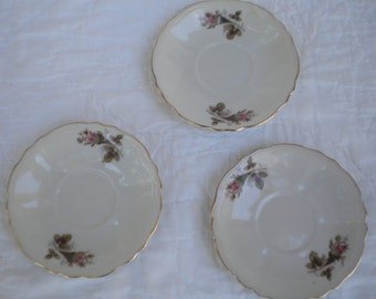 Three collectible china small tea saucers rose pattern Fred Roberts Company San Francisco made in Japan