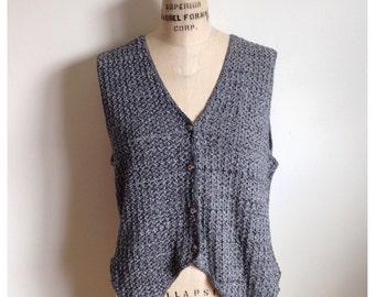Vintage 1990s grey knit vest