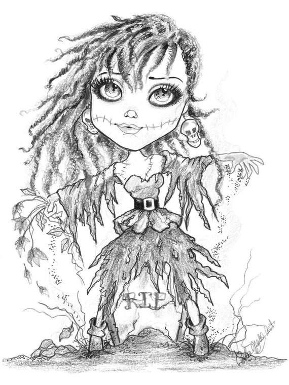 adult coloring page grayscale coloring page printable coloring page digital download halloween fantasy art dead prom date by leslie mehl art