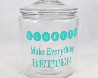 Cookie Jar with Vinyl Lettering 1 Gallon Anchor Hocking