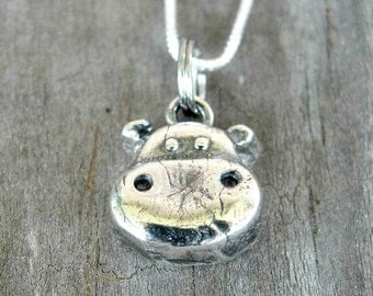 Hippo Necklace - Hippo Jewelry - Sterling Silver Hippo Necklace - Zoo Jewelry - Animal Necklace
