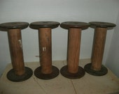 Vintage Wood Textile Spools Set of Four