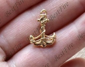 2 pcs 24K Gold filled Brass Charm anchor Pendant Spacer,anchor pendant Connector,necklace Connector loose bead, Charms Jewelry finding beads