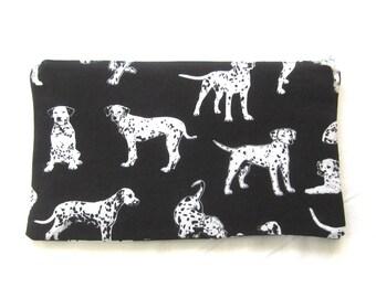 Dalmation Print Fabric Zipper Pouch / Pencil Case / Make Up Bag / Gadget Sack