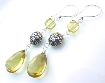 Lemon Quartz and Bali Silver Drop Earrings. Christmas Gift. Gemstone Jewelry. Ready to Ship. Long Dangly Drop Earrings.
