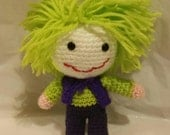 "crochet doll Mr J joker 6"" sci-fi geek retro gift vegan cartoon jester joke dc comic villian"