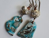 Hemimorphite Nugget Earrings, Blue Marbled Slab Nugget, Artisan Ceramic Nugget and Hypoallergenic Nioibum Ear Wires - RESERVE Listing for A