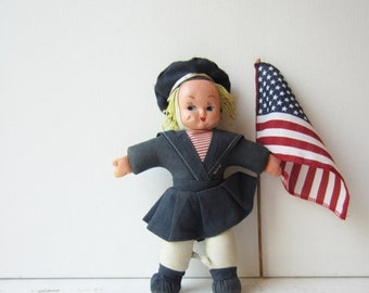 ON SALE Vintage Sailor Doll - Hand Painted - Cloth Doll - 1940's  Hungary