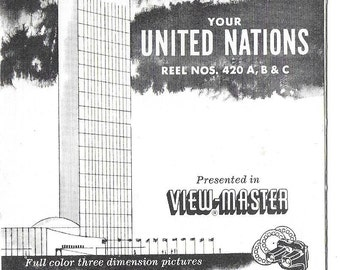 Vintage Mid Century View-Master Set - United Nations - New York City