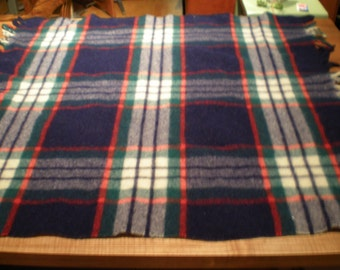 Vintage Mid Century Wool Plaid Blanket - Quiltex Fabric By Orr