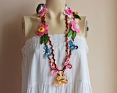Butterfly Crochet Scarf- Flower Lariat Scarf- Jewelry Scarf-Daffodil/Jonquil/Narcissus Scarf-christmas gift